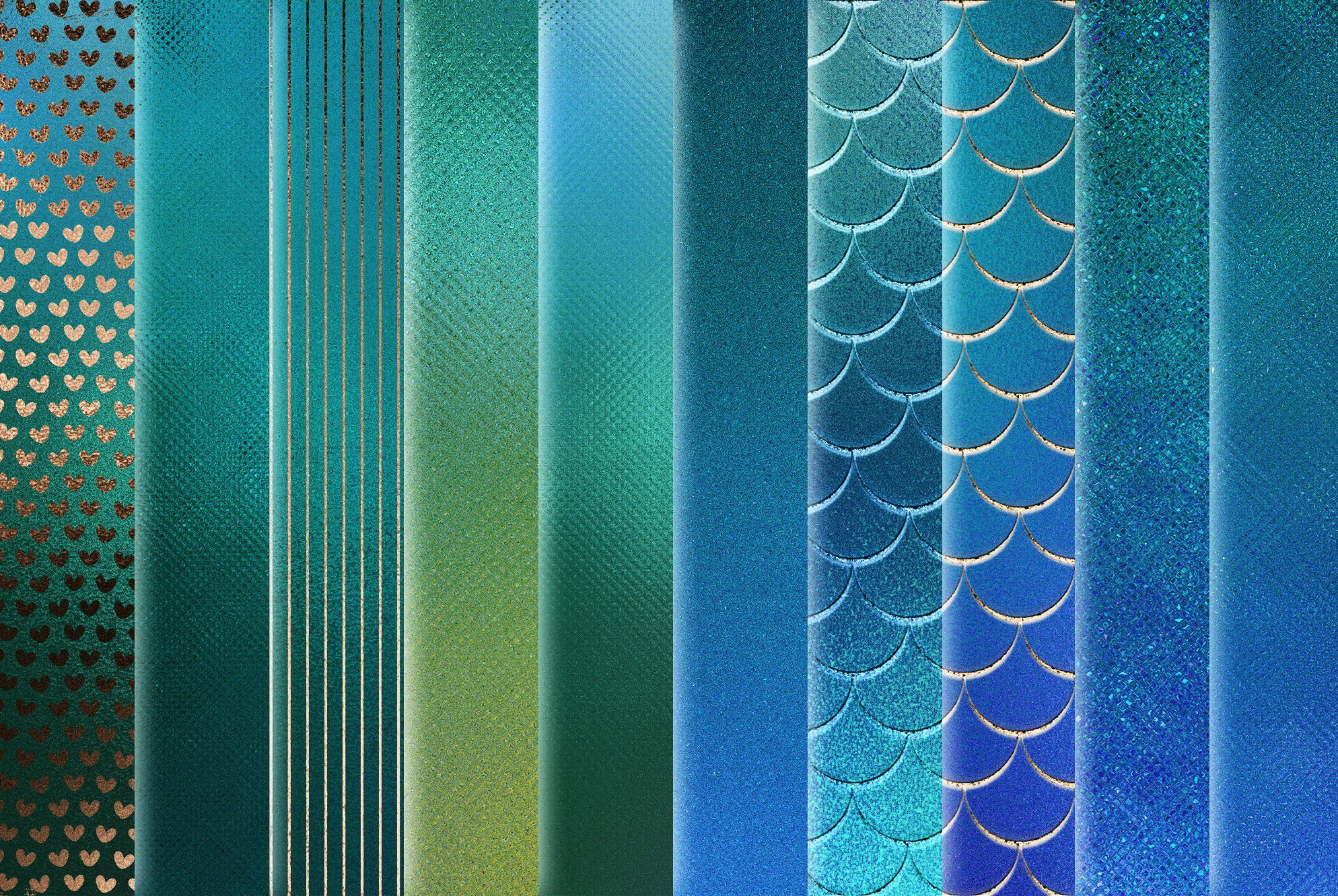 20款蓝绿色虹彩金箔纸纹理海报设计背景图片素材 Iridescent Gold Foil Textures插图3