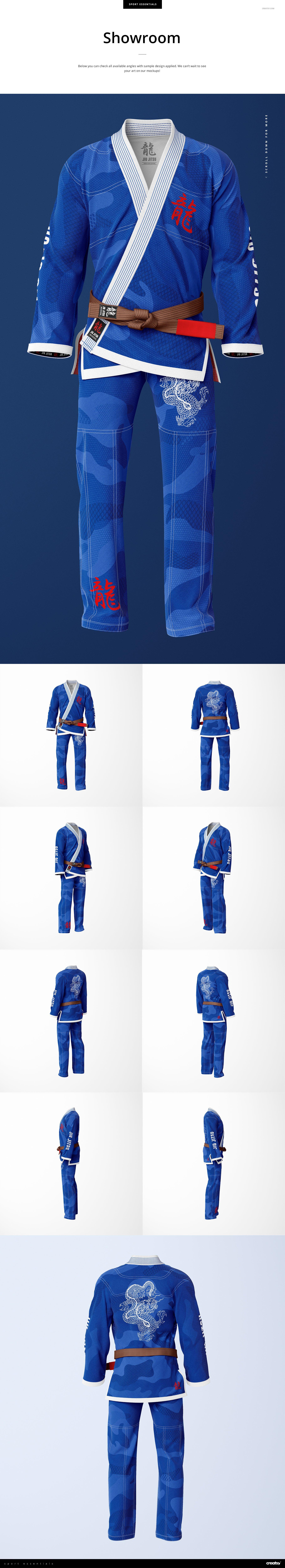 8个高品质跆拳道柔术制服印花图案设计PS智能贴图样机素材 Brazilian Jiu Jitsu GI Mockup插图4