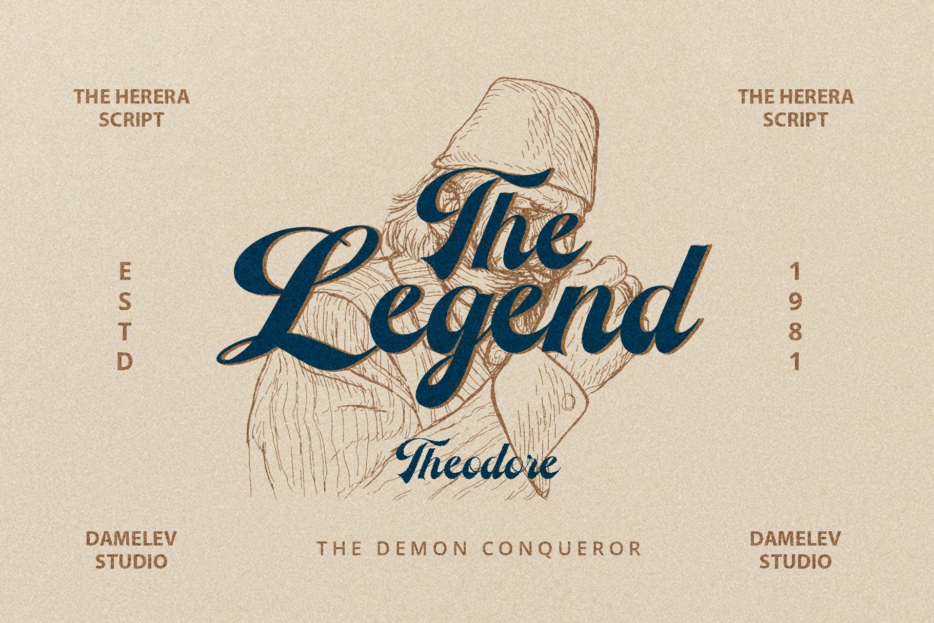 时尚复古海报标题徽标Logo手写英文字体设计素材 The Herera插图4