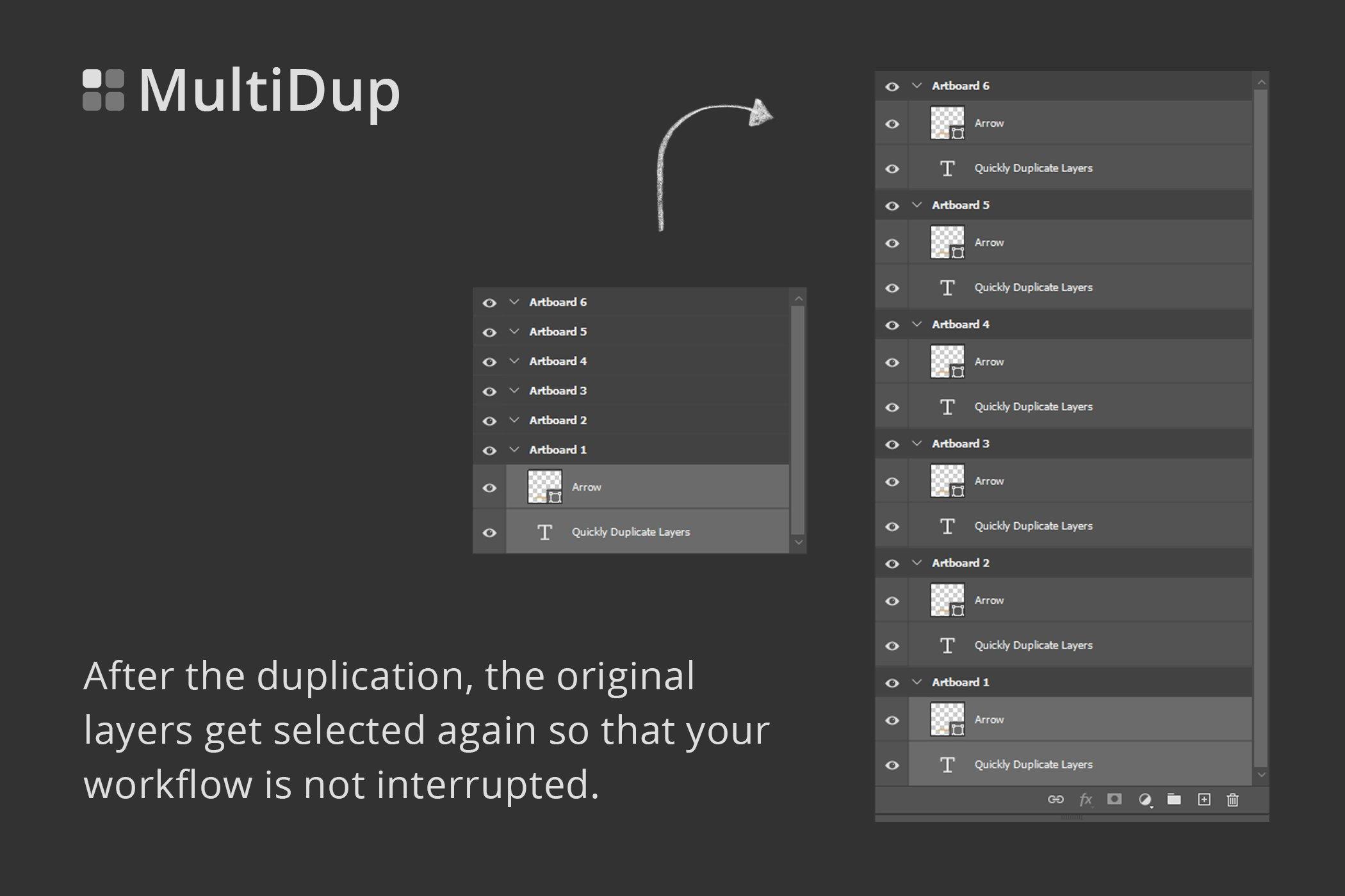 一键批量复制图层处理特效PS插件素材 MultiDup – Batch Duplication In PS插图1