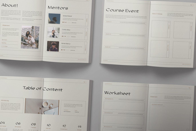 16页课程工作簿手册设计INDD模板素材 The Course Workbook  Minimal插图4