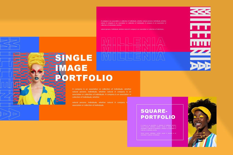时尚炫彩品牌策划提案简报作品集设计PPT+Keynote模板 Millenia – Fashion PowerPoint Template插图10