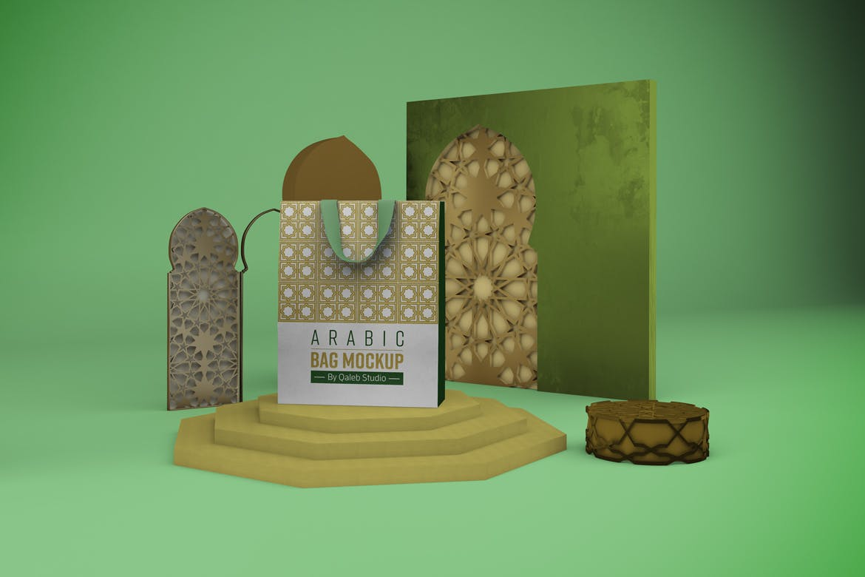 阿拉伯风格购物手提纸袋设计展示样机 Arabic Bag V.1 Mockup插图4