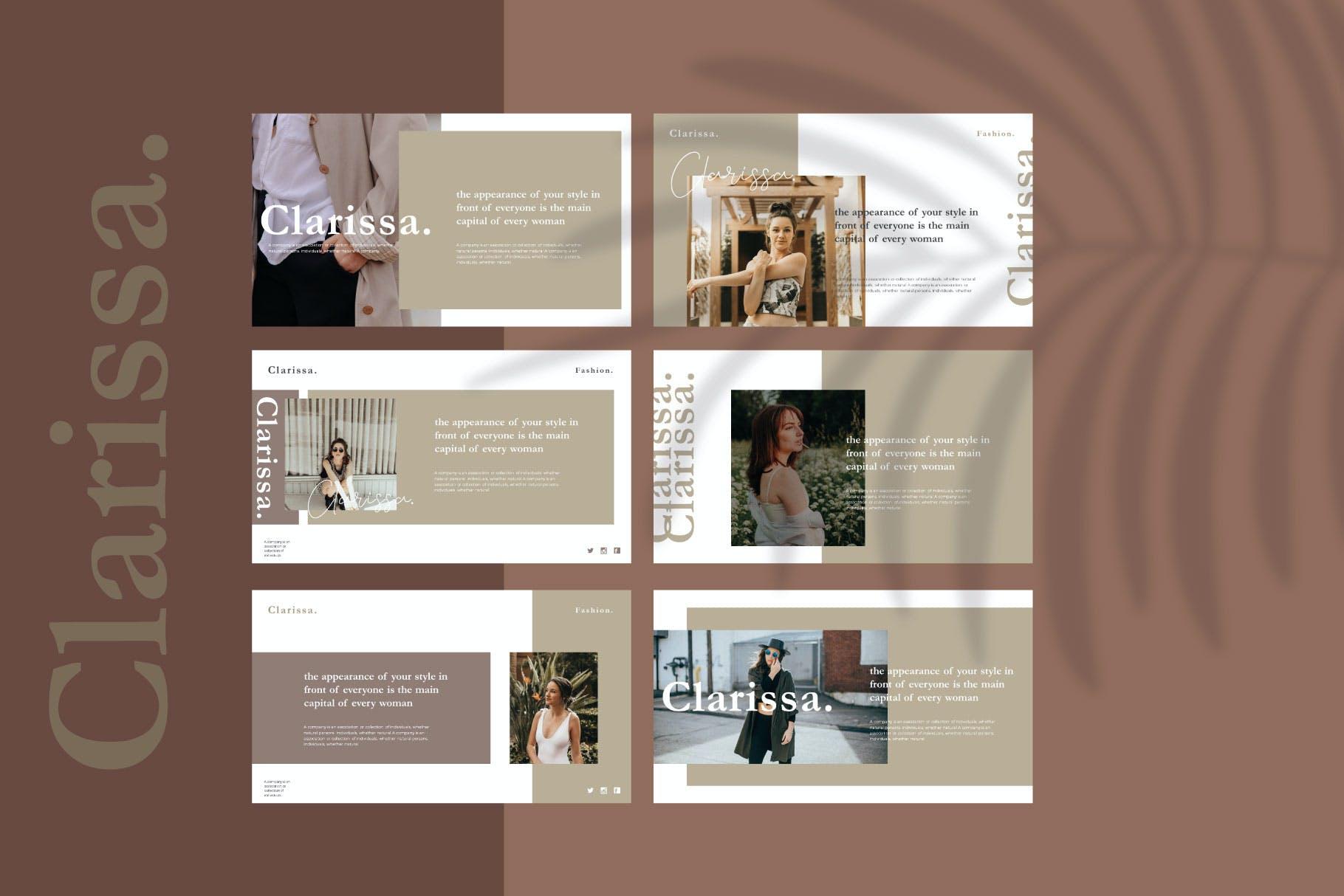 时尚简约摄影作品集图文排版幻灯片设计模板 Clarissa Bundle Presentation插图4