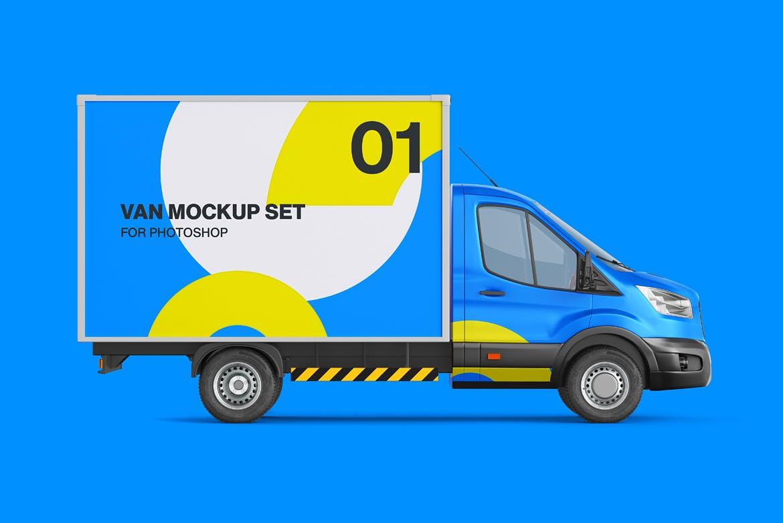 封闭式小货车车厢广告设计贴图样机 Cube Van Mockup 02插图4