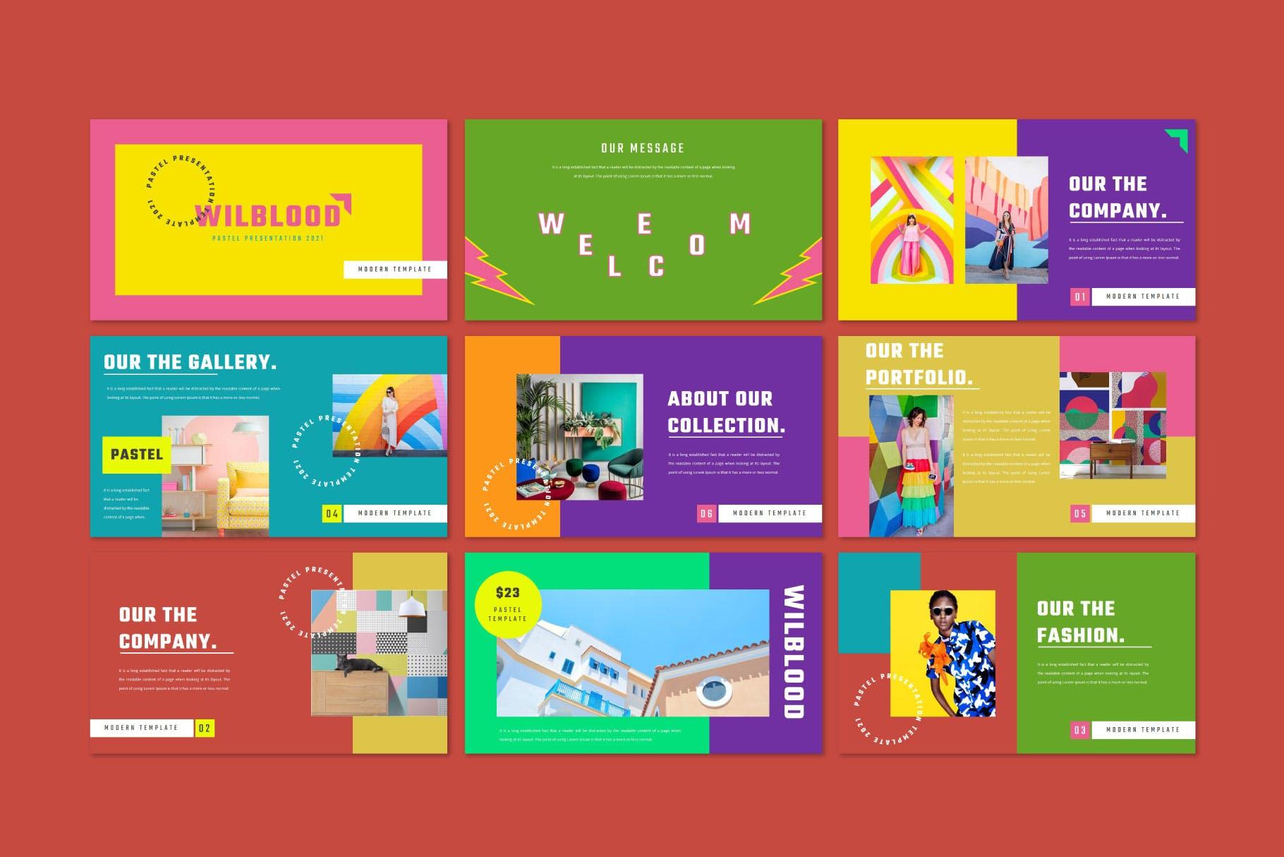 时尚炫彩服装策划提案简报作品集设计模版 WILBLOOD – Keynote Template插图4