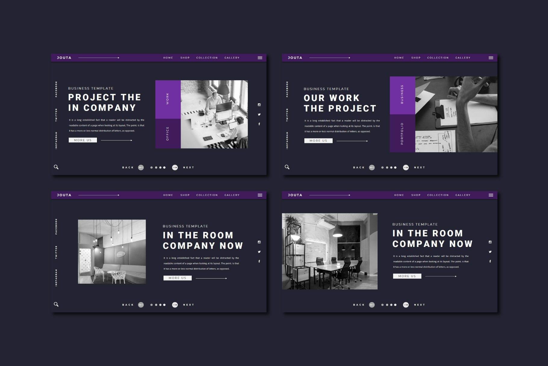 酷黑企业策划宣传演示文稿PPT设计模板 JOUTA Powerpoint Template插图4