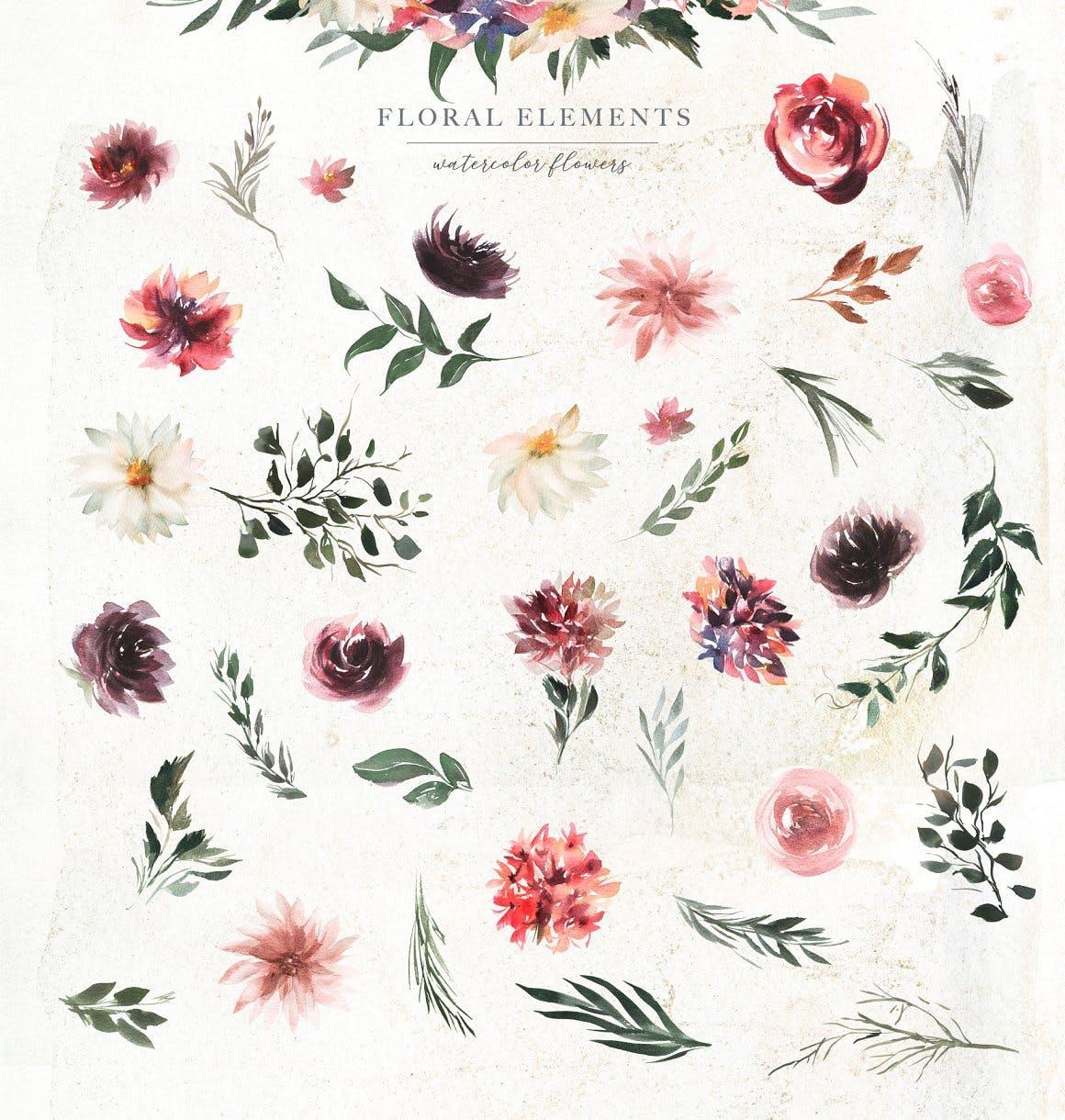 39款玫瑰花花卉手绘水彩画图片设计素材 Watercolor White & Deep Red插图4