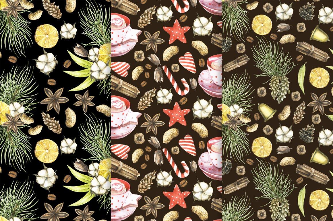 19个圣诞节主题松枝鹿角手绘剪贴画JPG图片素材 Watercolor Christmas Magic Patterns插图4