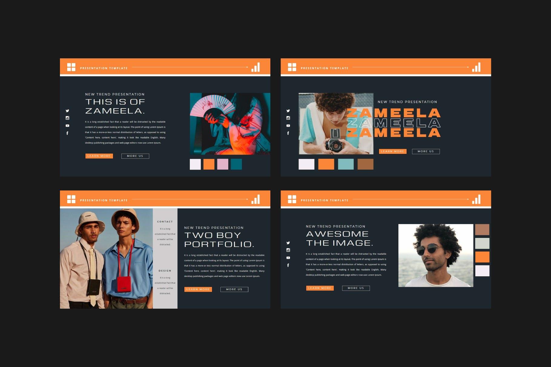 潮流品牌服装摄影作品集演示文稿设计模板 ZAMEELA Powerpoint Template插图4