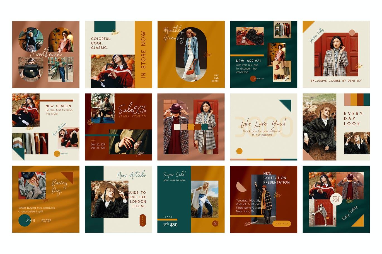 时尚典雅时装店品牌推广新媒体电商海报设计PSD模板 Fashion Store Instagram Posts Stories插图4