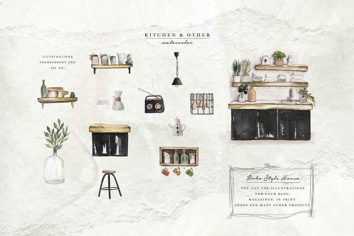 清新波西米亚风室内家具手绘水彩画PNG免抠图片素材 Watercolor Cozy Home插图4