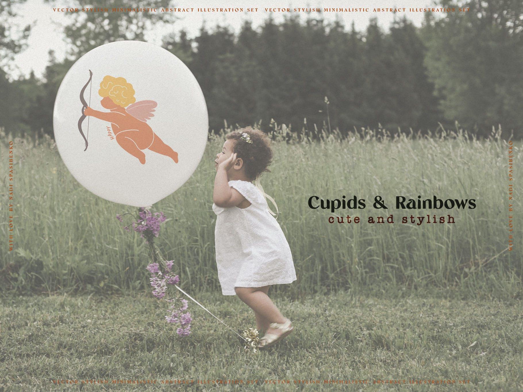 时尚抽象可爱卡通彩虹丘比特元素手绘插画矢量设计素材 Cupids & Cute Rainbows插图4