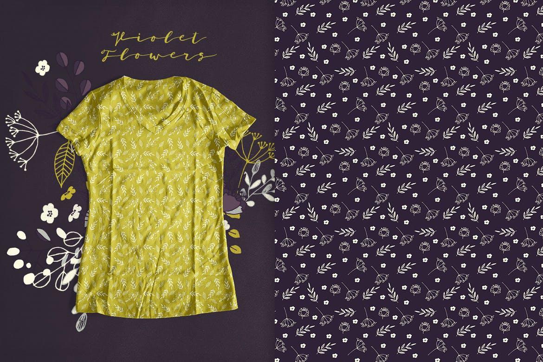 优美紫罗兰手绘插画矢量设计素材 Violet Flowers插图4
