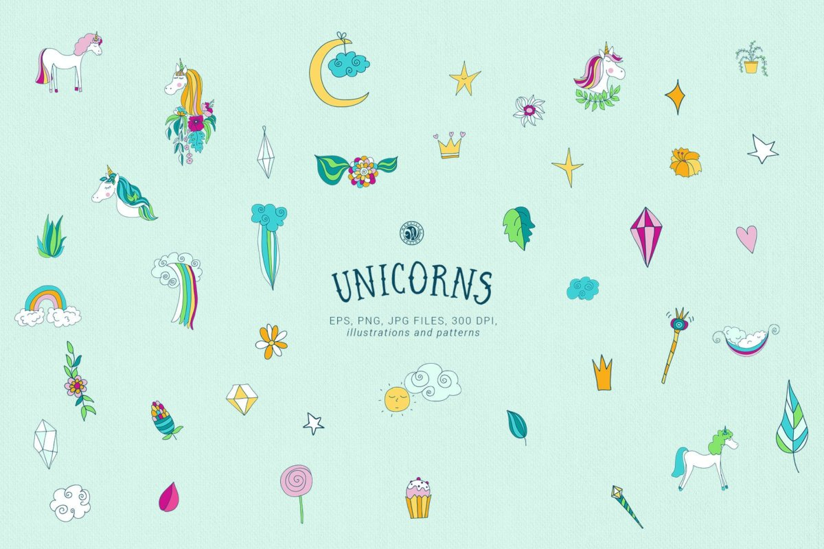 可爱卡通独角兽手绘插画矢量设计素材 Unicorns Illustrations插图4