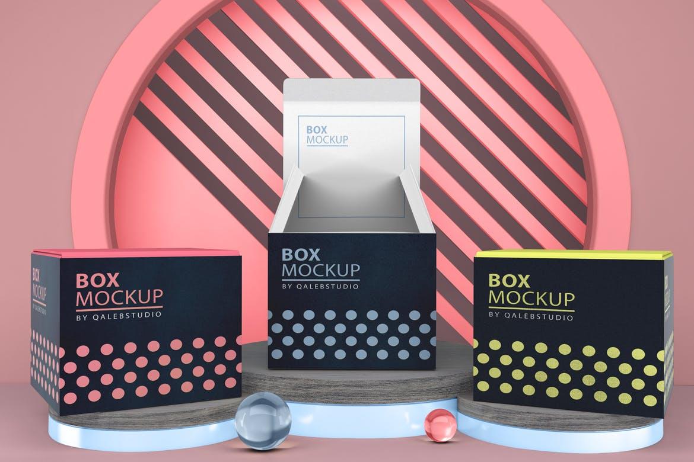 多角度方形产品包装纸盒设计PSD样机m'b Box Mockup V.5插图4