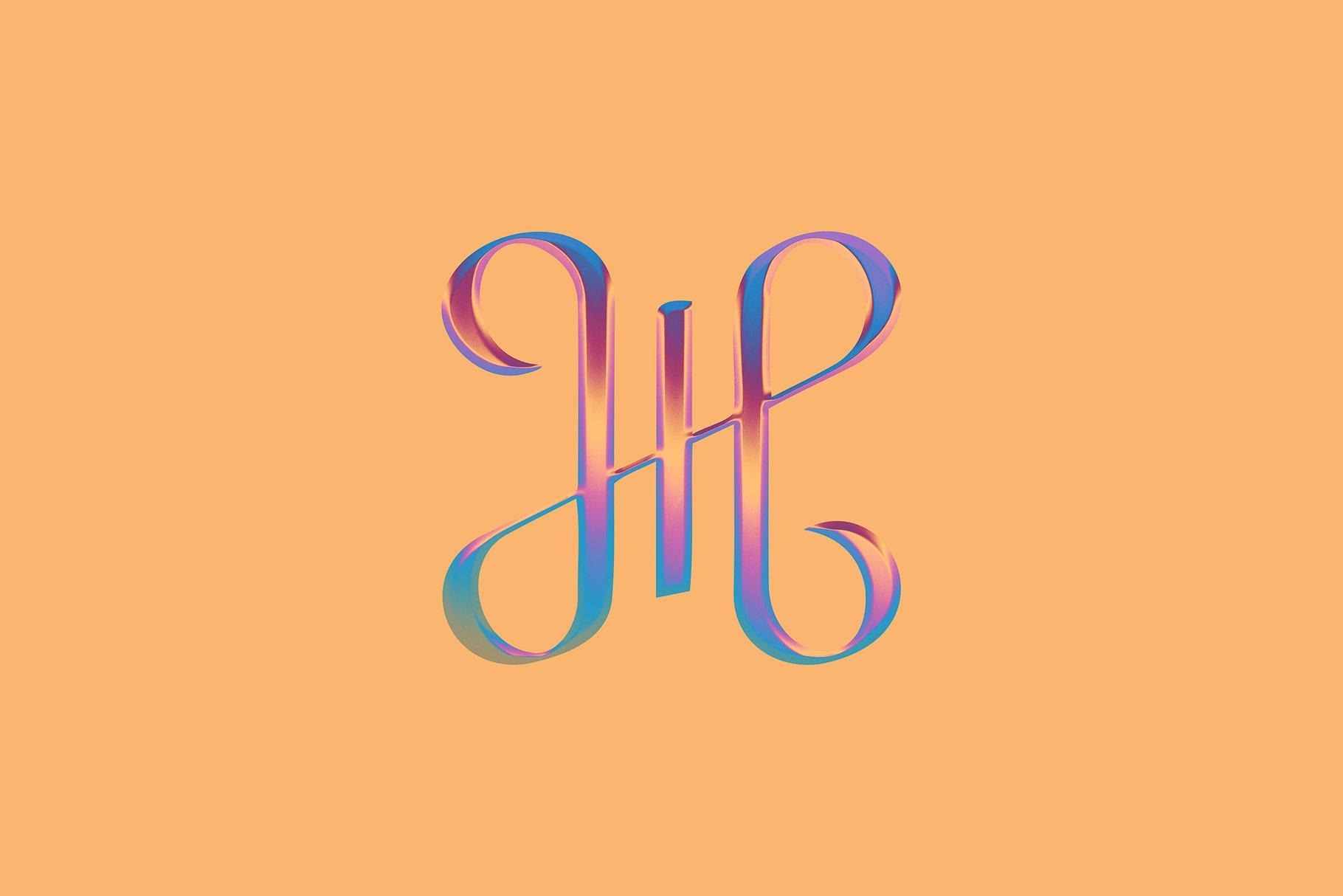[单独购买] 潮流霓虹灯镀铬3D立体标题Logo设计样式色板预设PS素材 Hype – Neon Chrome Effect插图4