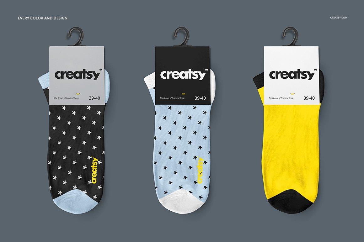 低帮袜子印花图案设计展示PS样机模板素材 Low Cut Socks 2 Mockup Set插图4
