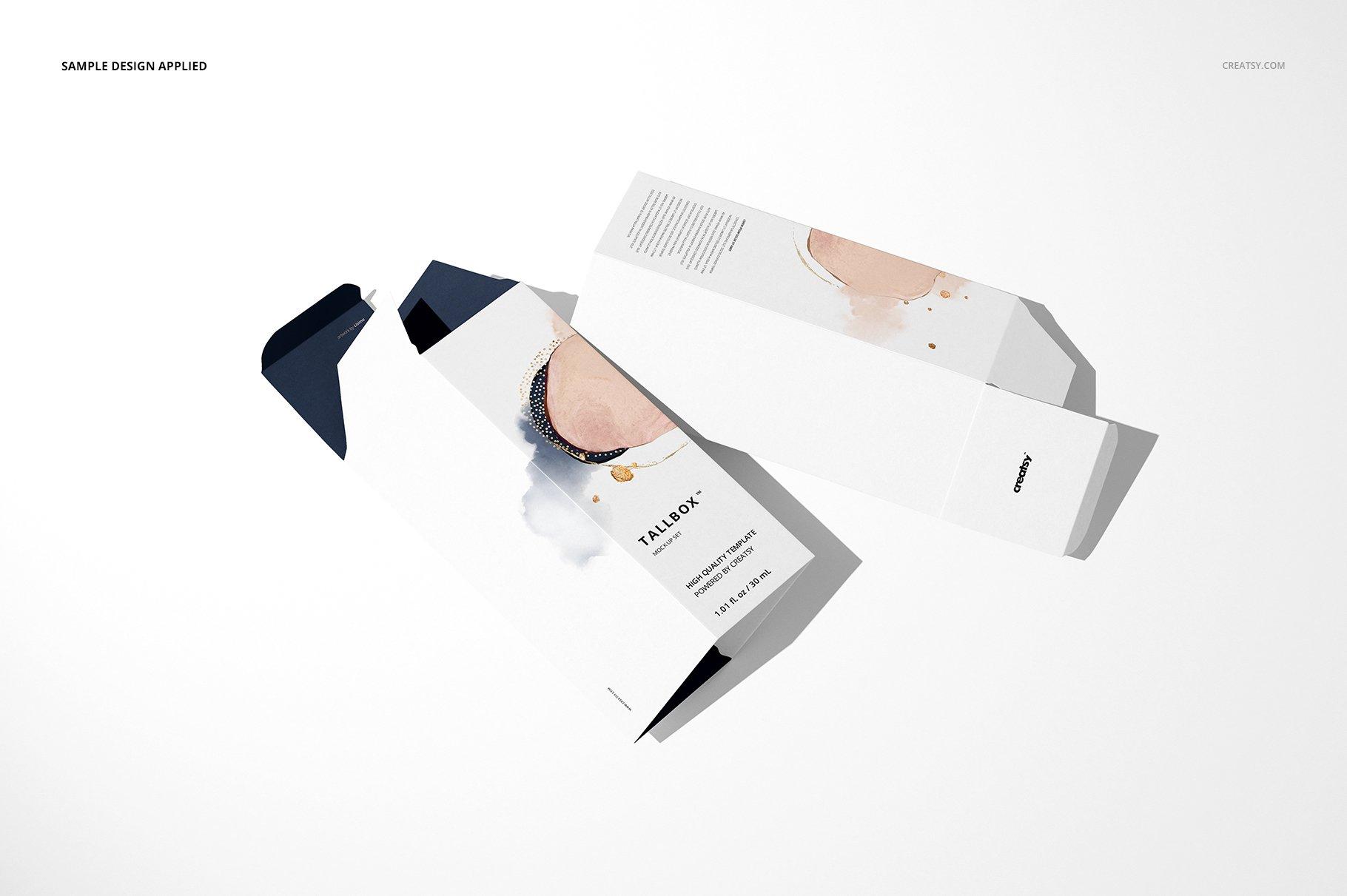 极简方形产品包装纸盒设计PS智能贴图样机合集 Tall Box Mockup Set插图4