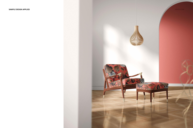 奥斯曼风休闲扶手椅子面料印花图案设计PS智能贴图样机合集 Lounge Chair & Ottoman Mockup Set插图4