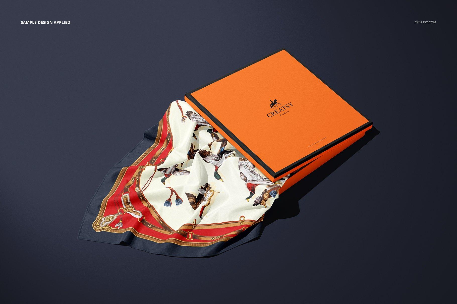 时尚真丝丝绸围巾印花图案设计展示样机 Silk Scarf Box Mockup Set 07/FFv.12插图5
