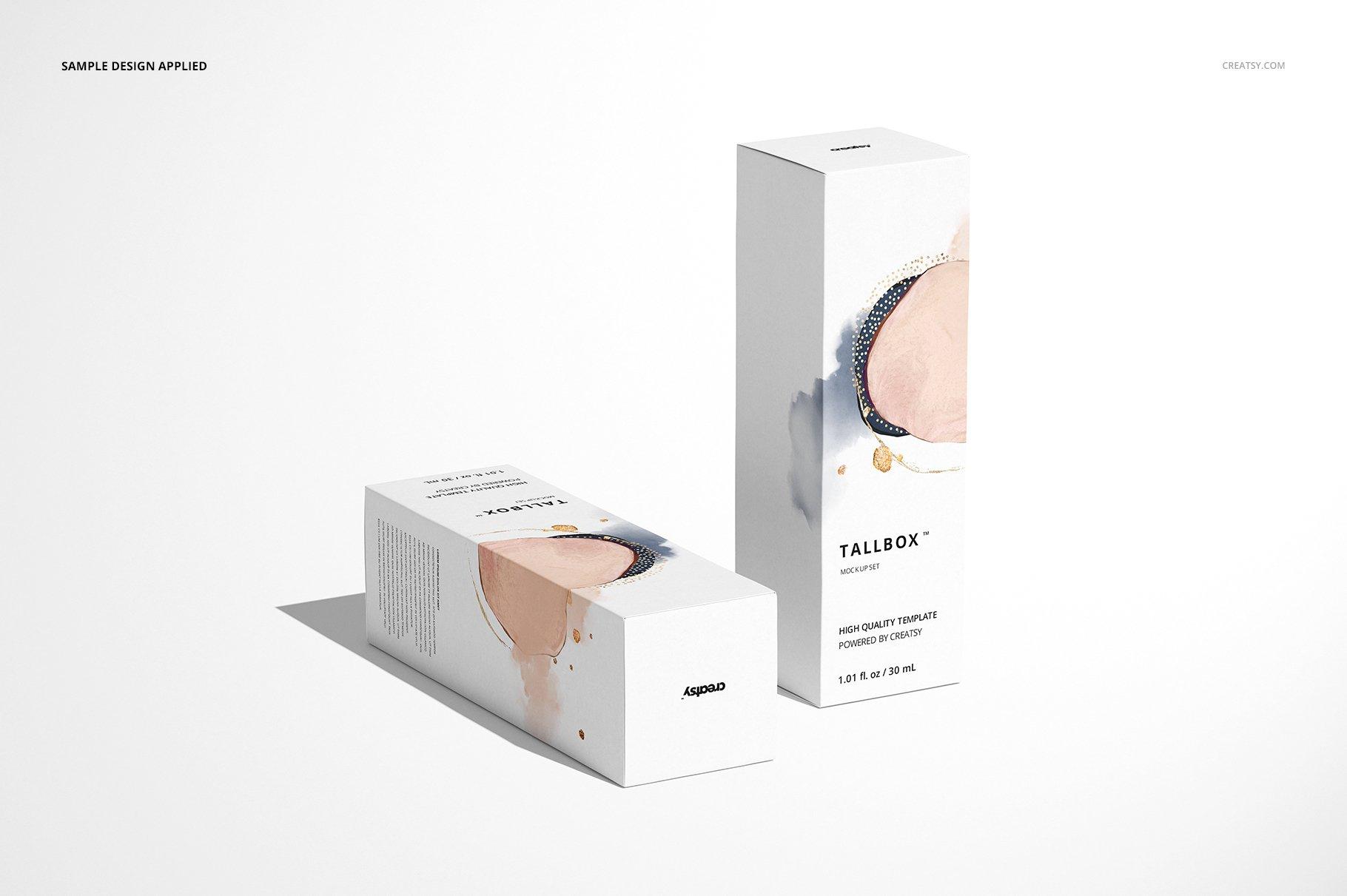 极简方形产品包装纸盒设计PS智能贴图样机合集 Tall Box Mockup Set插图5
