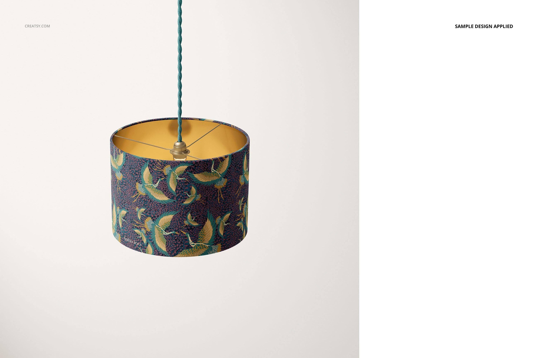 时尚高端室内鼓形灯罩灯设计展示样机集 Drum Lamp Shade Lamps Mockup Set插图5