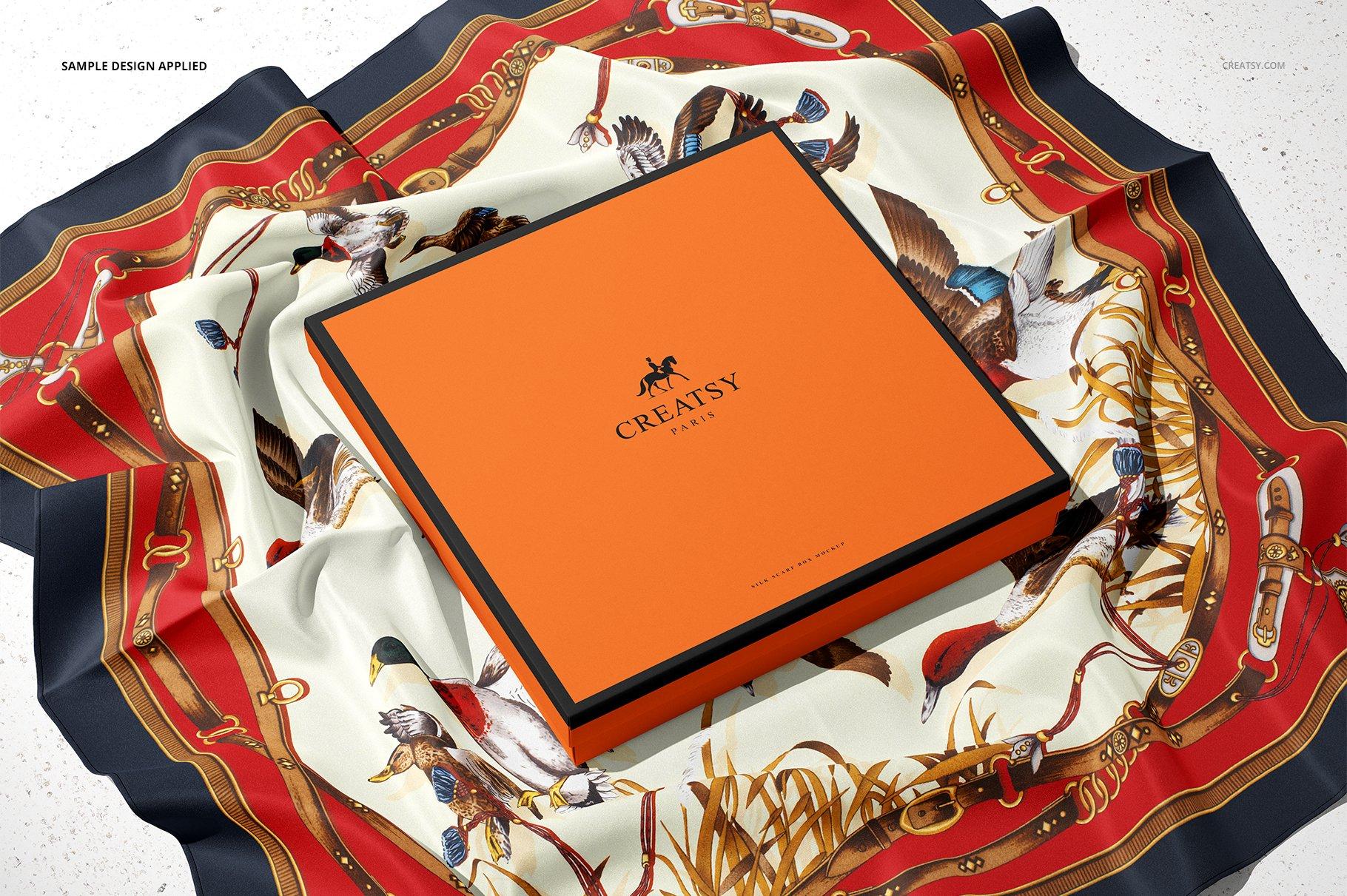 时尚真丝丝绸围巾印花图案设计展示样机 Silk Scarf Box Mockup Set 07/FFv.12插图6