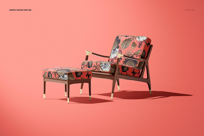 奥斯曼风休闲扶手椅子面料印花图案设计PS智能贴图样机合集 Lounge Chair & Ottoman Mockup Set插图7