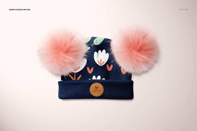 毛绒绒绒儿童毛线无檐小便帽设计展示样机集 Beanie with Fur Pompons Mockup Set插图7