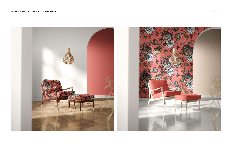 奥斯曼风休闲扶手椅子面料印花图案设计PS智能贴图样机合集 Lounge Chair & Ottoman Mockup Set插图8