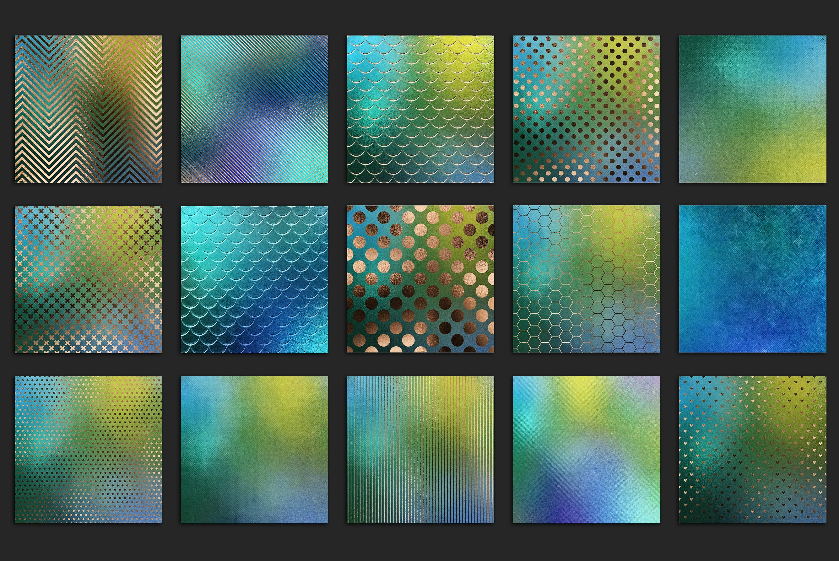 20款蓝绿色虹彩金箔纸纹理海报设计背景图片素材 Iridescent Gold Foil Textures插图4