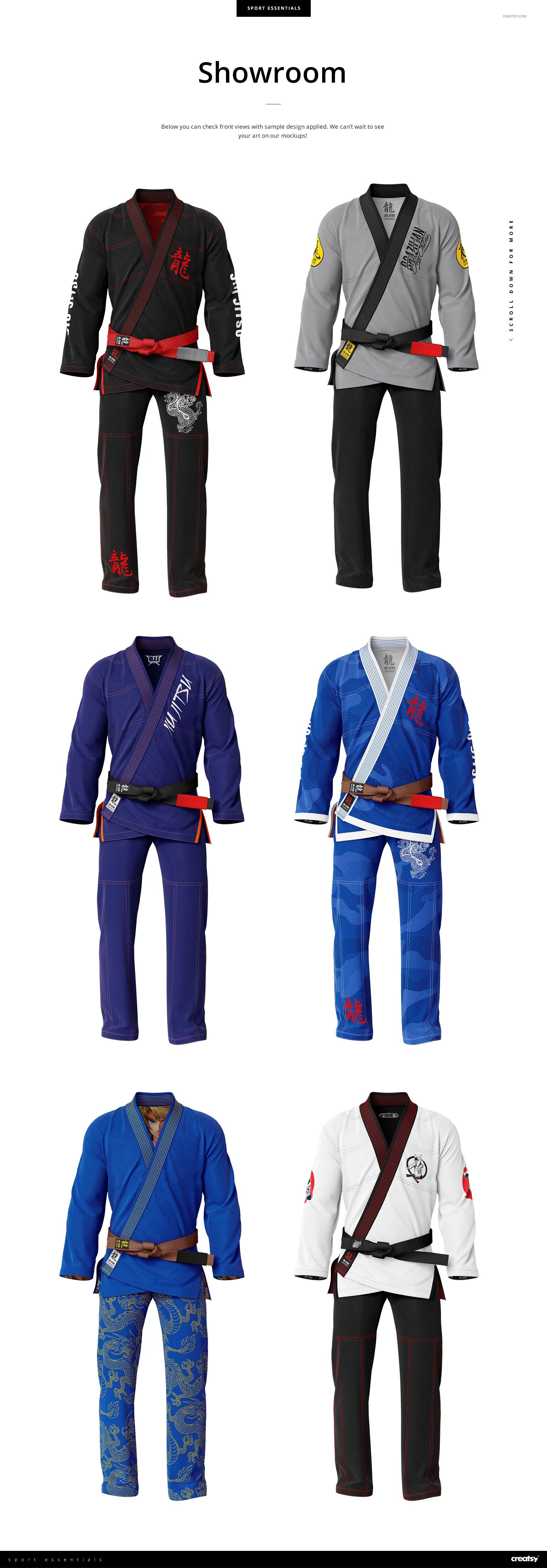 8个高品质跆拳道柔术制服印花图案设计PS智能贴图样机素材 Brazilian Jiu Jitsu GI Mockup插图5