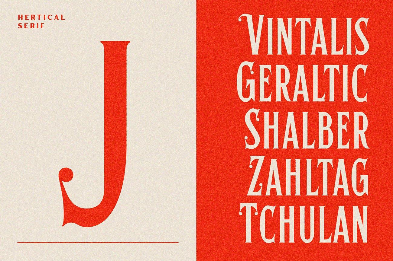 时尚复古标题徽标Logo衬线英文字体下载 Hertical Font插图5