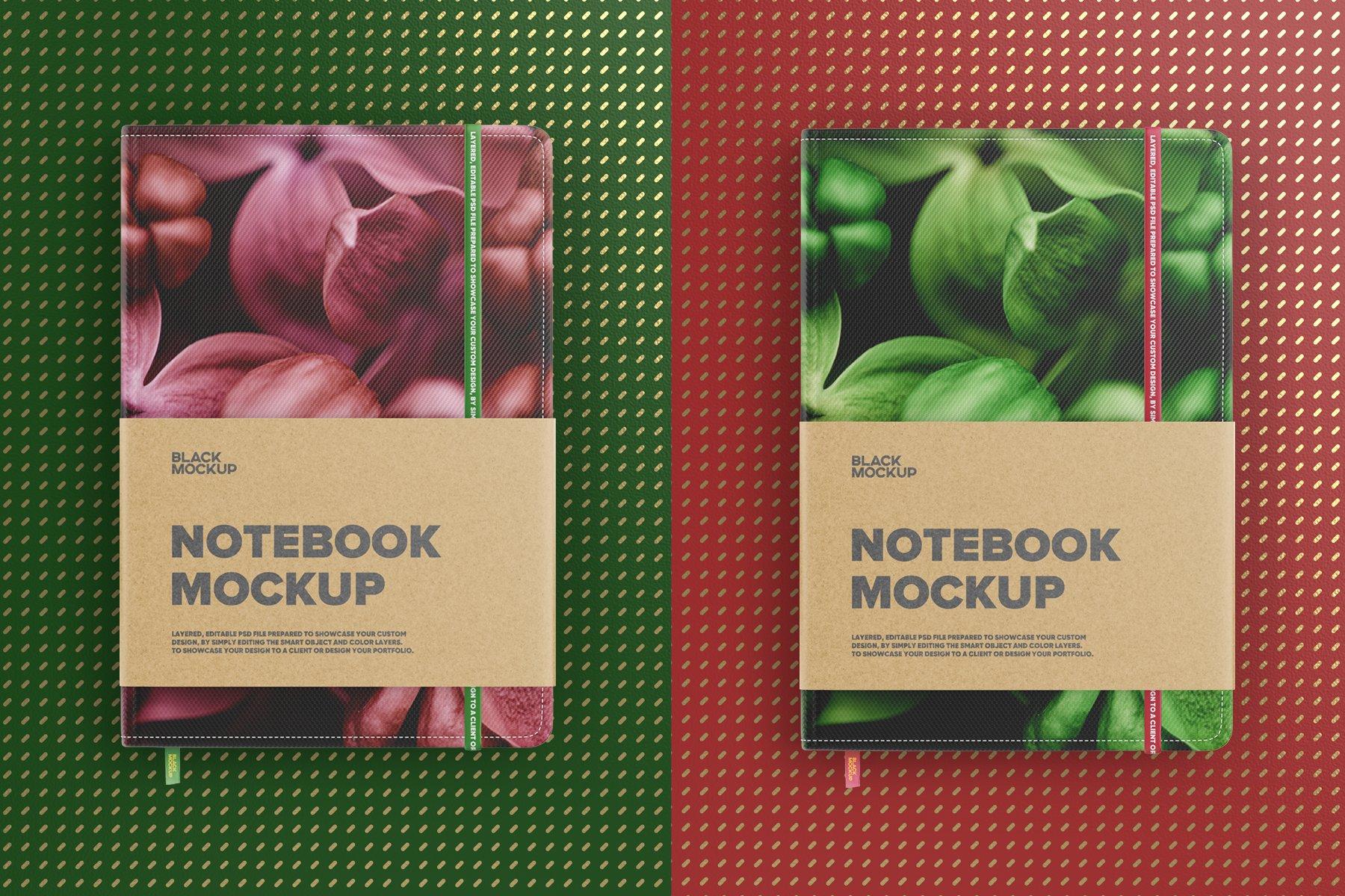 8款办公用品笔记本记事本设计PSD样机模板 Notebook In Craft Packaging Mockup插图5