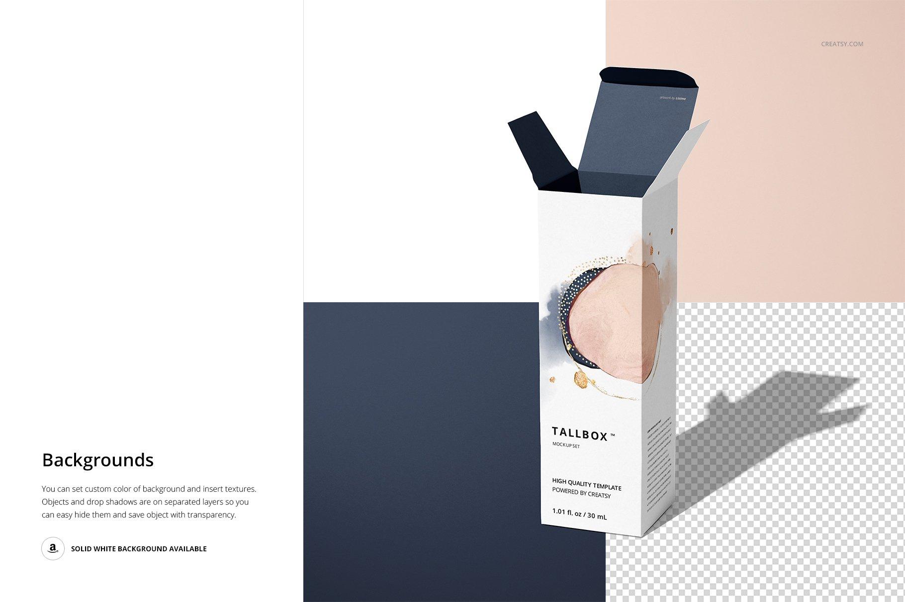 极简方形产品包装纸盒设计PS智能贴图样机合集 Tall Box Mockup Set插图11