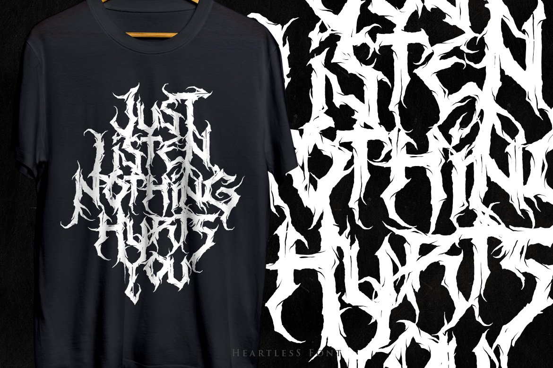 [已解锁精品素材] 潮流逆反差酸性锋利毛刺标题徽标Logo设计装饰英文字体素材 Heartless-Great Deathmetal Font插图5