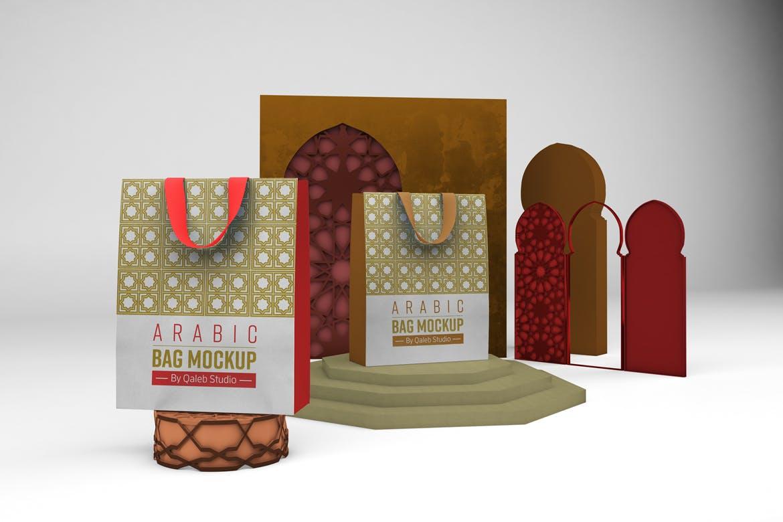 阿拉伯风格购物手提纸袋设计展示样机 Arabic Bag V.1 Mockup插图5