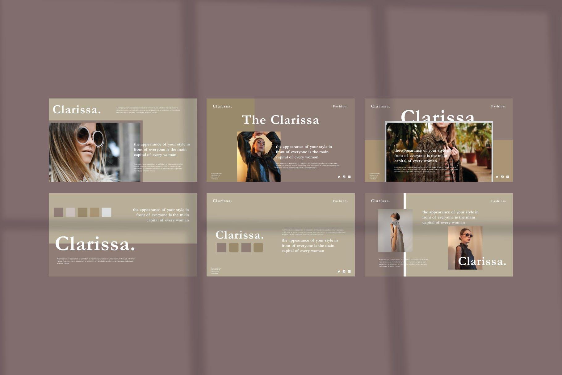 时尚简约摄影作品集图文排版幻灯片设计模板 Clarissa Bundle Presentation插图5