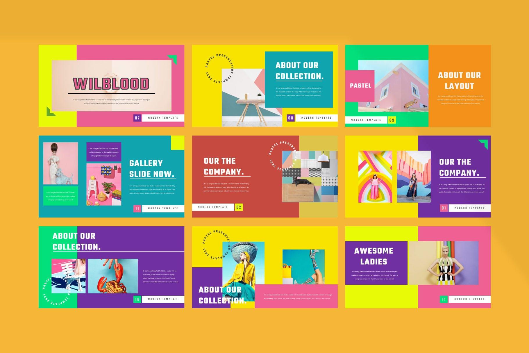 时尚炫彩服装策划提案简报作品集设计模版 WILBLOOD – Keynote Template插图5