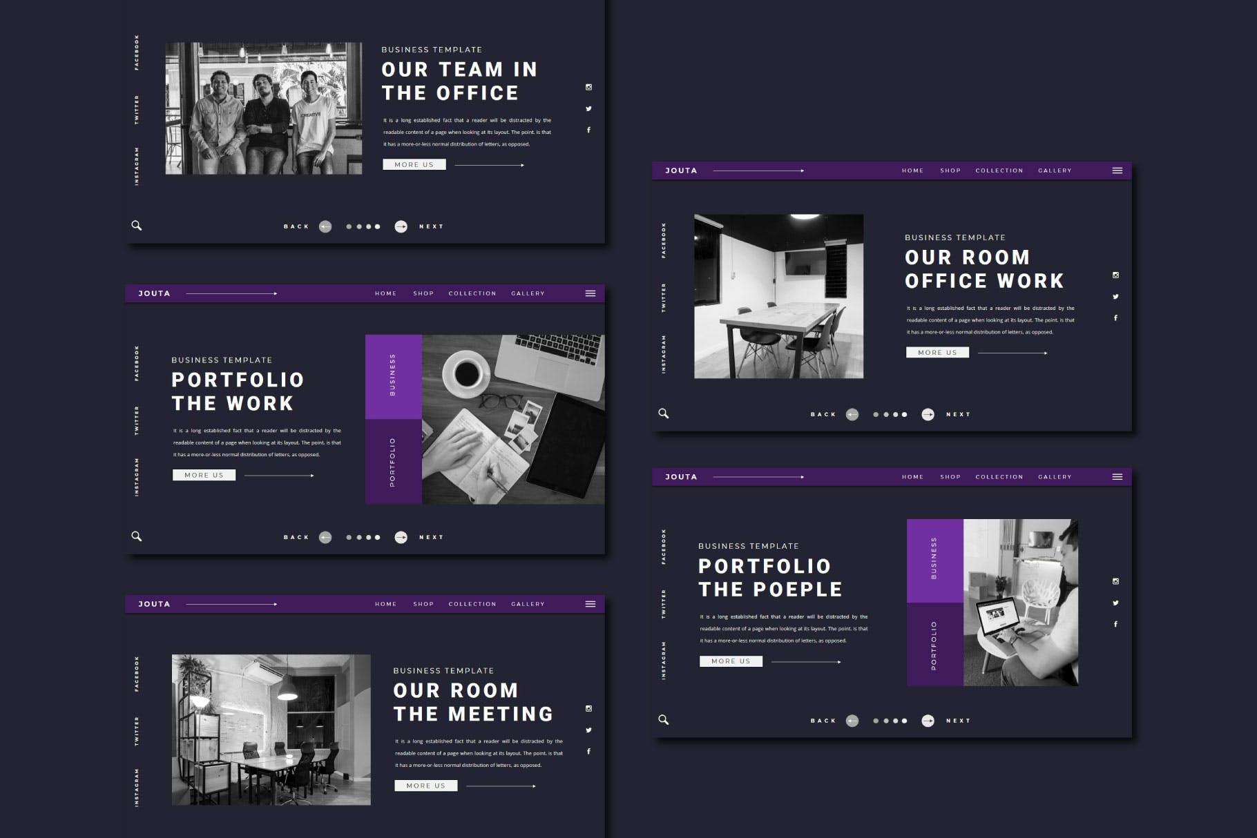 酷黑企业策划宣传演示文稿PPT设计模板 JOUTA Powerpoint Template插图5