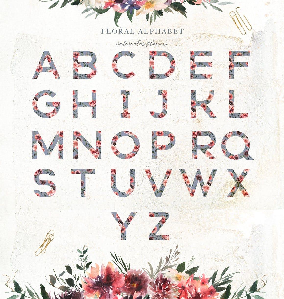 39款玫瑰花花卉手绘水彩画图片设计素材 Watercolor White & Deep Red插图5