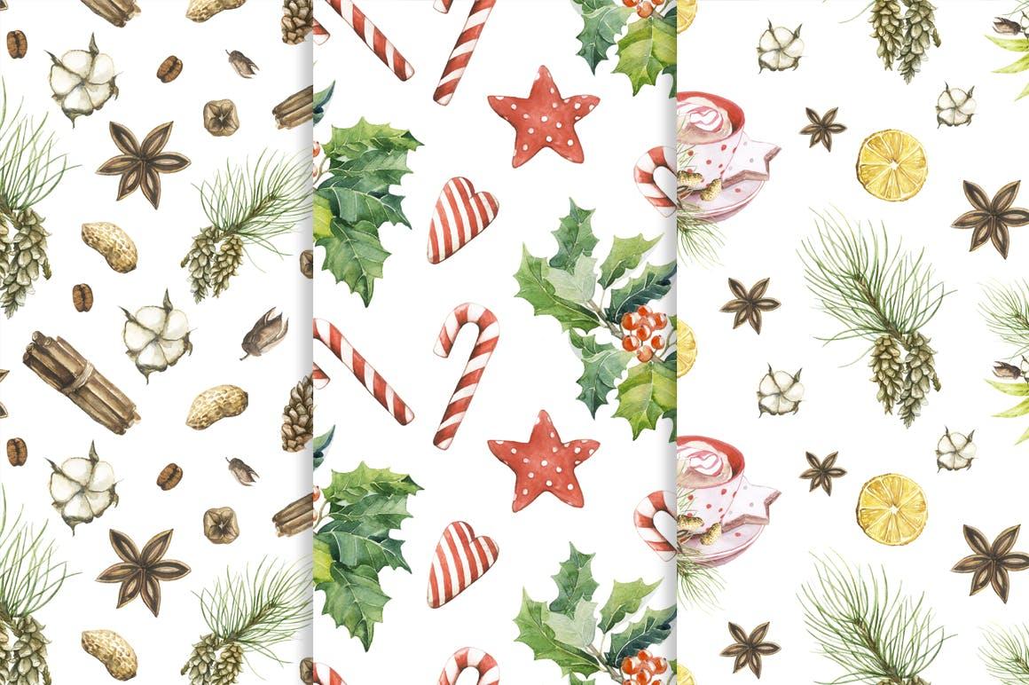19个圣诞节主题松枝鹿角手绘剪贴画JPG图片素材 Watercolor Christmas Magic Patterns插图5