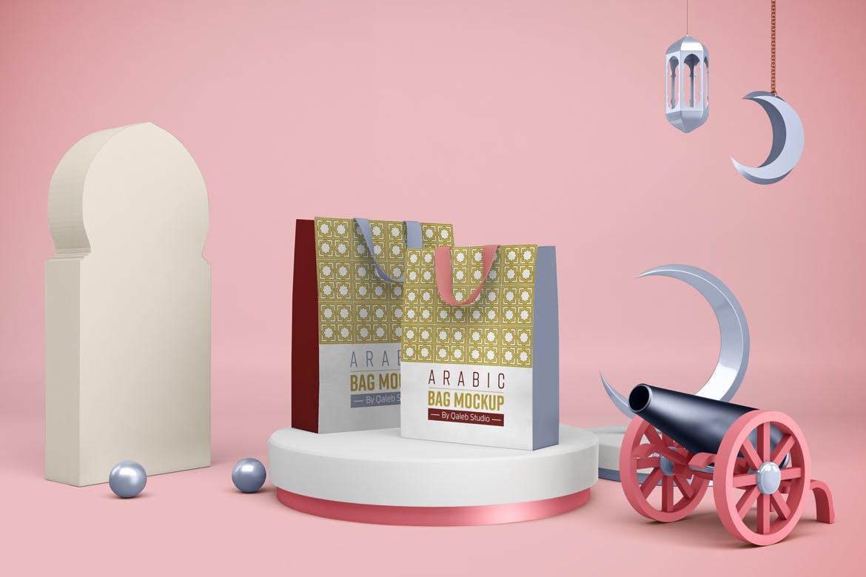 阿拉伯风斋月购物手提袋设计PSD样机模板 Ramadan Bag插图7