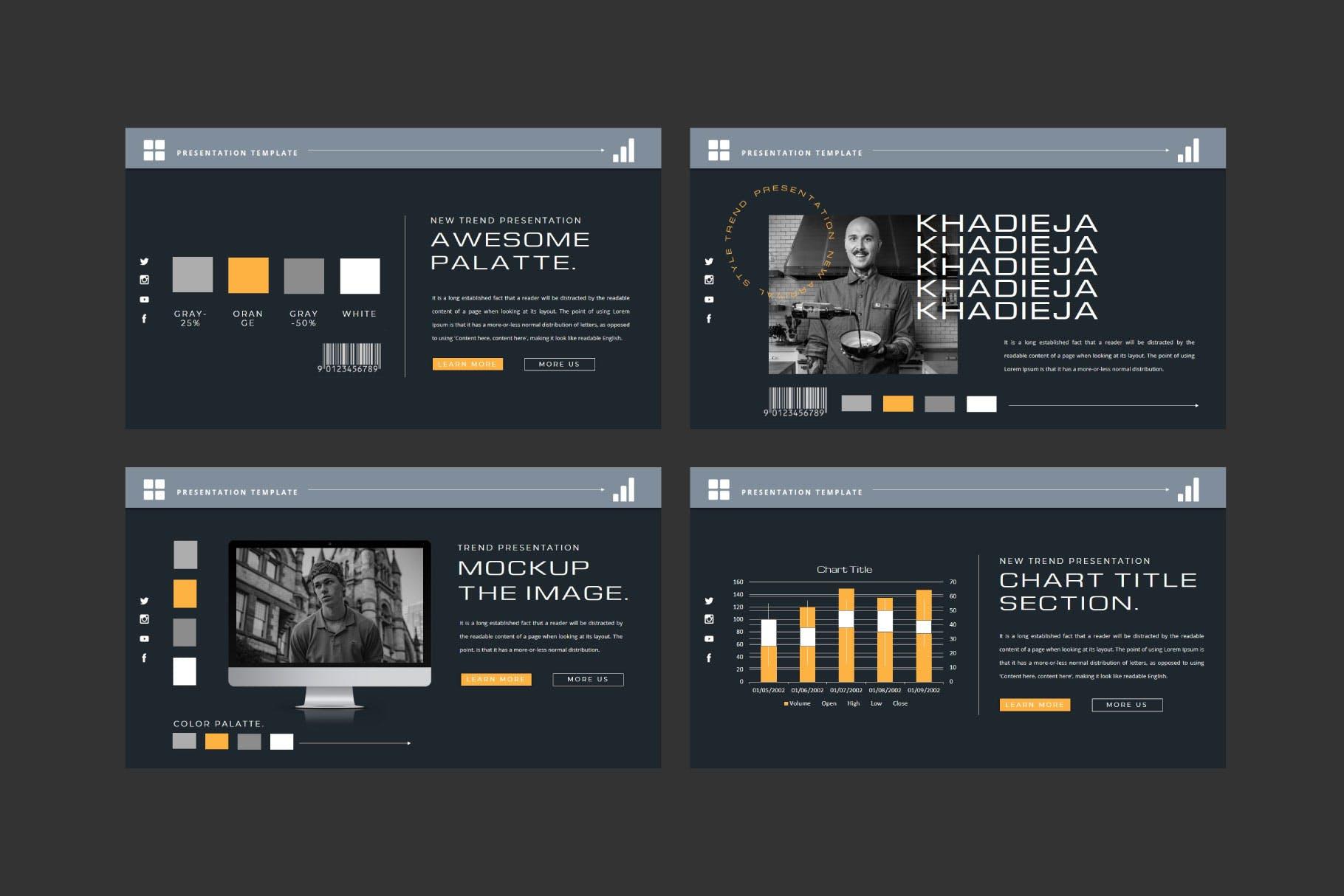 潮流品牌策划提案简报作品集设计演示文稿模板 KHADIEJA Powerpoint Template插图5
