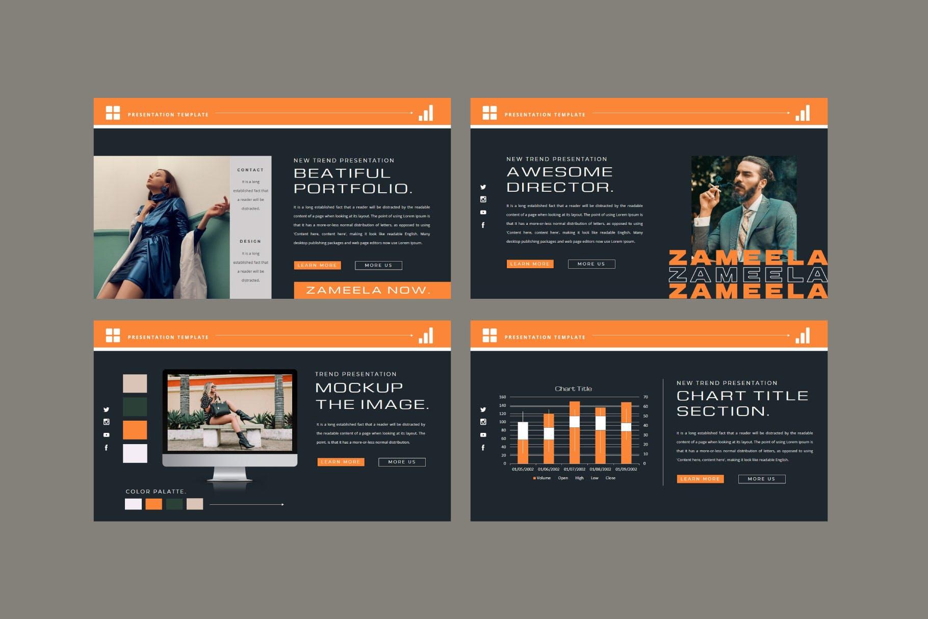 潮流品牌服装摄影作品集演示文稿设计模板 ZAMEELA Powerpoint Template插图5