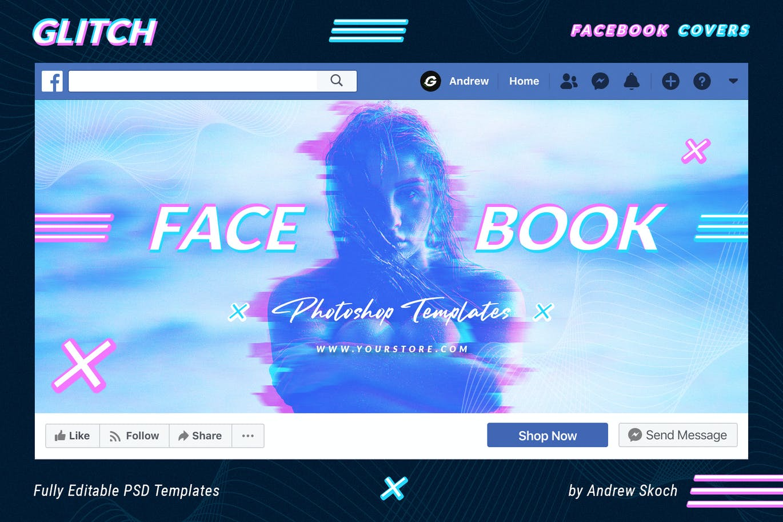 超流故障风Facebook封面海报设计PSD模板素材 Glitch Facebook Covers插图5
