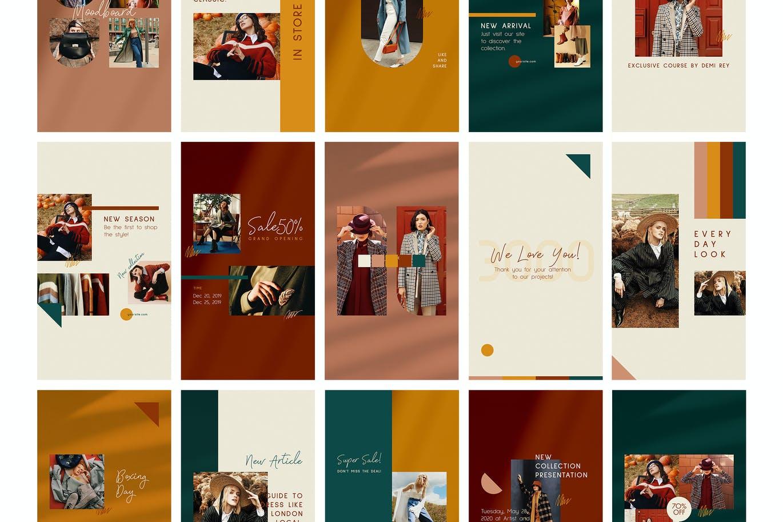时尚典雅时装店品牌推广新媒体电商海报设计PSD模板 Fashion Store Instagram Posts Stories插图5