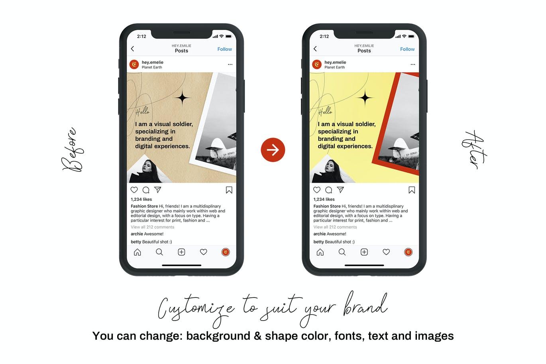 潮流复古INS风新媒体推广电商海报设计模板 Seamless Instagram Carousel插图5