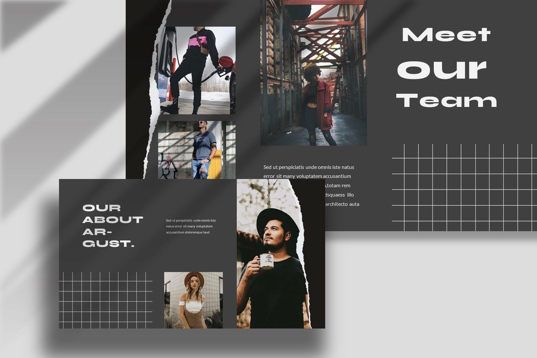 潮流撕纸效果品牌策划提案简报演示文稿设计模板 Argust Powerpoint Template插图5